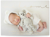 Delicate Welcome Foil-Pressed Grand Birth Announcements