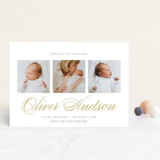 Elegant Trio Birth Announcement Petite Cards