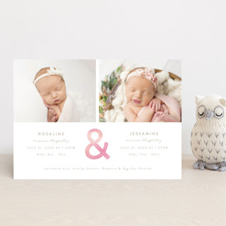 Watercolor Ampersand Birth Announcement Postcards