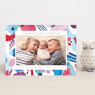 Abstract Watercolor Birth Announcement Postcards