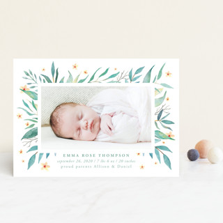 watercolor botany Birth Announcement Postcards