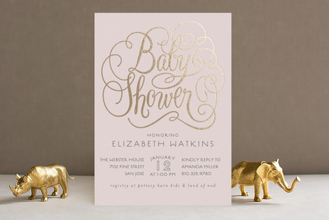 Flourished Foil-Pressed Baby Shower Invitations