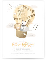 baby balloon ride Foil-Pressed Baby Shower Invitations