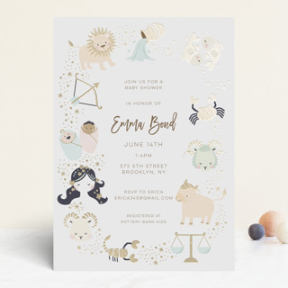 baby horoscope Foil-Pressed Baby Shower Invitations