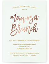 Mom-osa Brunch Foil-Pressed Baby Shower Invitations