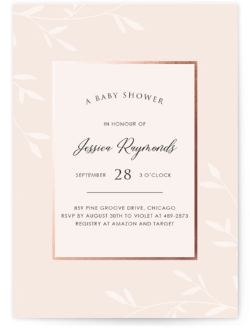 Gently Framed Foil-Pressed Baby Shower Invitations