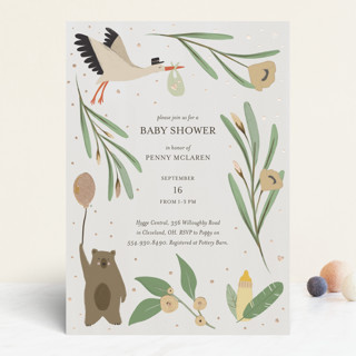 Here comes Baby Foil-Pressed Baby Shower Invitations