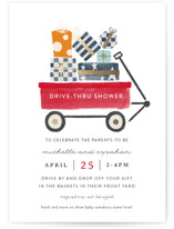 Drive-Thru Red Wagon Foil-Pressed Baby Shower Invitations