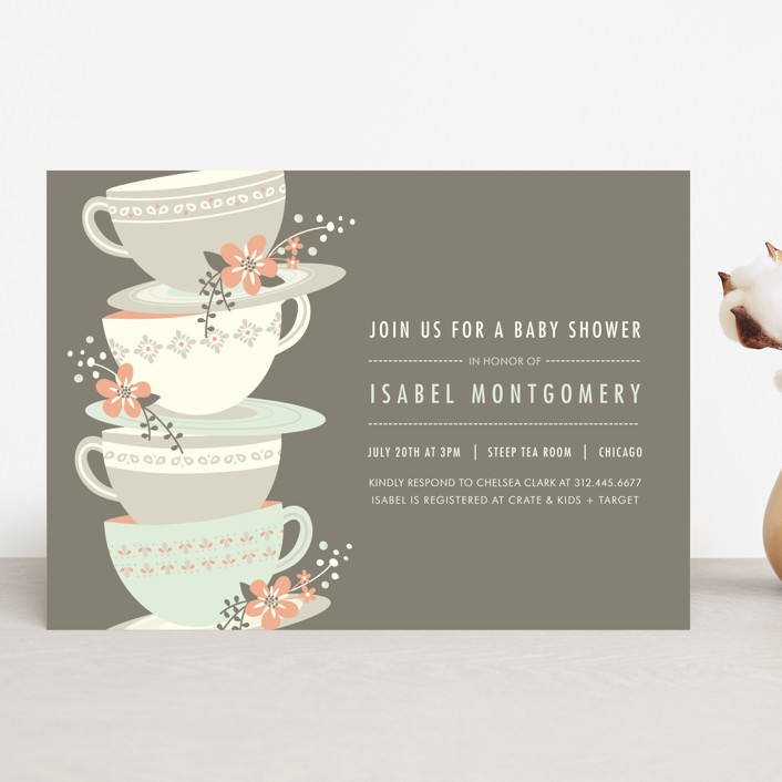 time for tea baby shower invitations by angela mar minted