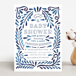 Painted Ornate Frame Baby Shower Invitations