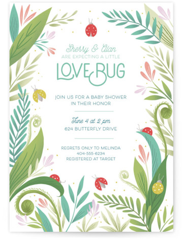 Little Love Bug Baby Shower Invitations