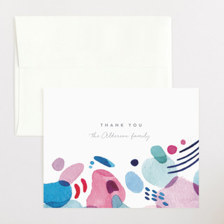 Abstract Watercolor Flat Birth Announcements Thank You Cards