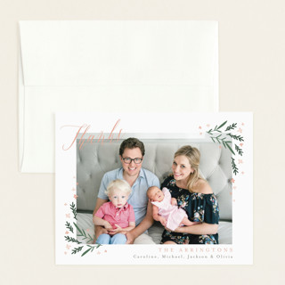 Dainty Botanicals Flat Birth Announcements Thank You Cards