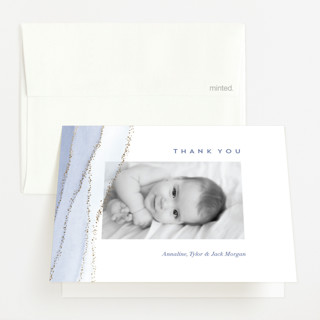 The Touch of Agate Foil-Pressed Birth Announcement Thank You Cards
