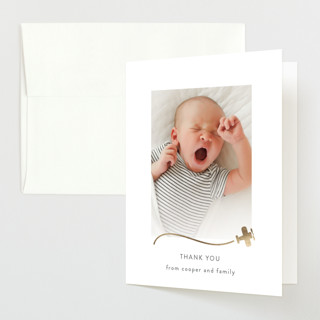 Written in the Clouds Foil-Pressed Birth Announcement Thank You Cards