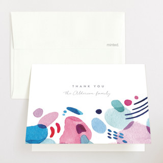 Abstract Watercolor Birth Announcements Thank You Cards