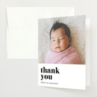 Modern Serif Birth Announcements Thank You Cards