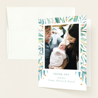 watercolor botany Birth Announcements Thank You Cards