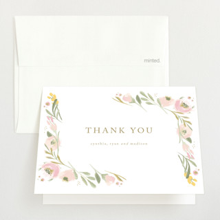 brush of florals Birth Announcements Thank You Cards