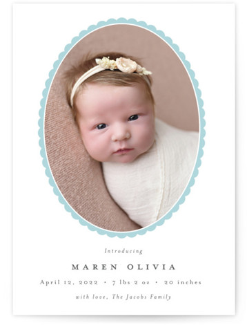 Scallop Oval Birth Announcements