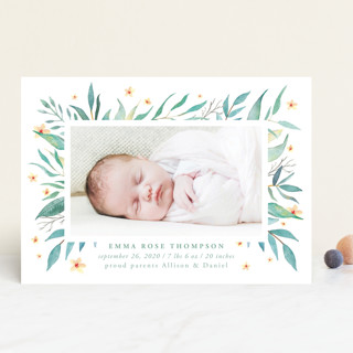watercolor botany Birth Announcements
