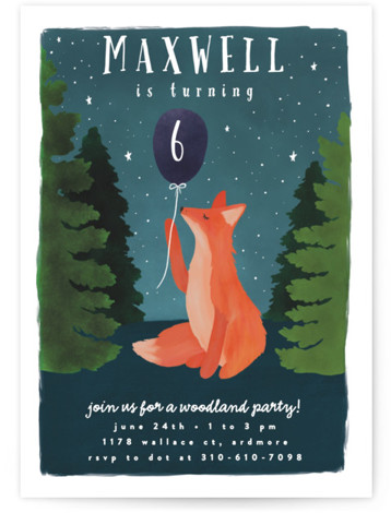 Woodland Fox Children's Birthday Party Invitations