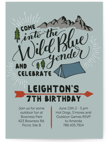Wild Blue Yonder Children's Birthday Party Invitations