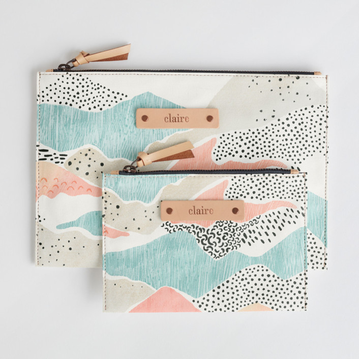 Abstract View Catch-All Fabric Pouch Set, $38