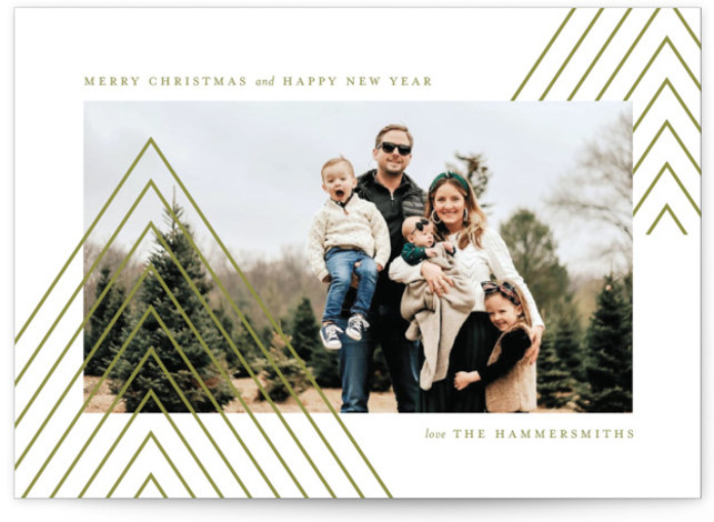 Geometric trees Christmas Photo Cards