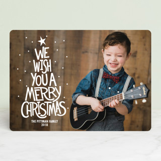 Retro Worded Tree Christmas Photo Cards