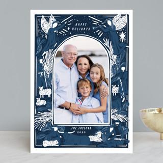 Woodblock Nativity Frame Christmas Photo Cards