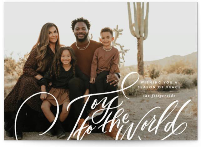Side Swept Hand Lettered joy Christmas Photo Cards