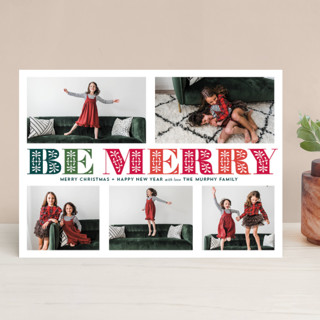 Ornate Be Merry Christmas Photo Cards