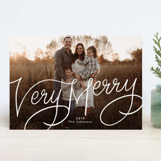 Very Merry Hand Lettered Christmas Photo Cards