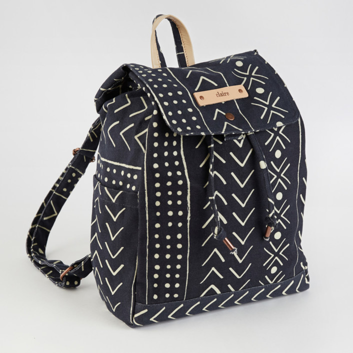 mud cloth organic Canvas Snap Backpack