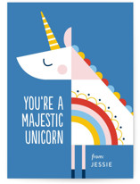 rainbow unicorn Classroom Valentine's Day Cards