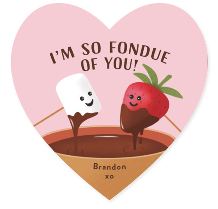 Fondue Love Classroom Valentine's Day Cards