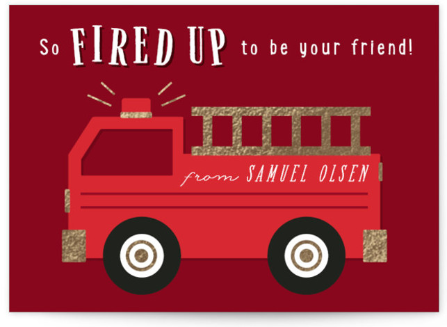 Fired Up Foil-Pressed Classroom Valentine's Day Cards