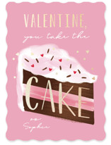 take the cake Foil-Pressed Classroom Valentine's Day Cards