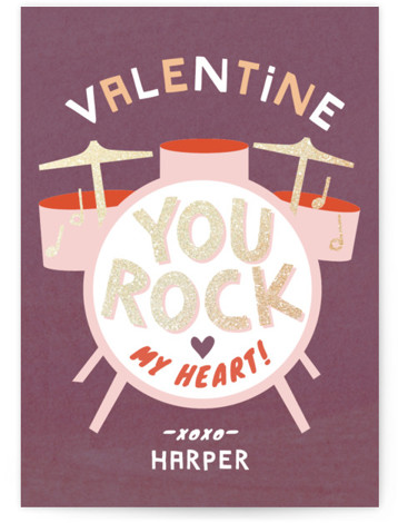 heart beats Foil-Pressed Classroom Valentine's Day Cards