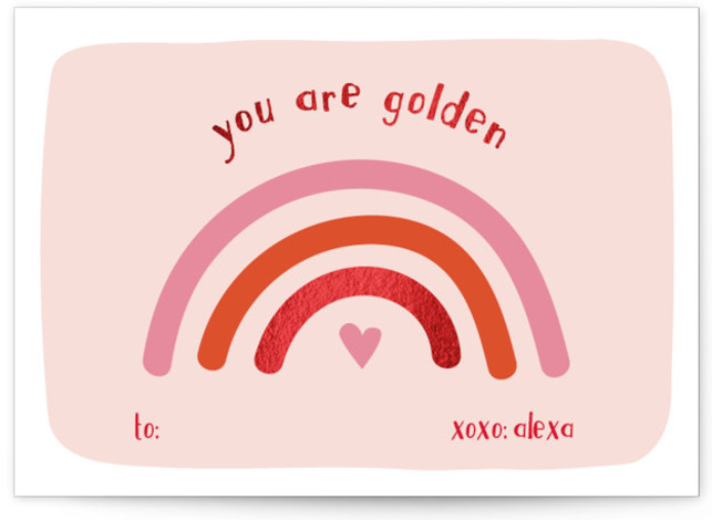 Golden Foil-Pressed Classroom Valentine's Day Cards