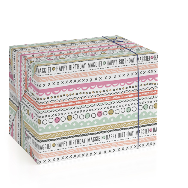 Doodle Strip Wrapping Paper