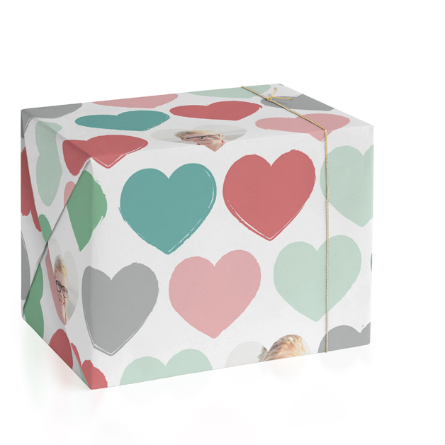 Painted Hearts Personalized Wrapping Paper