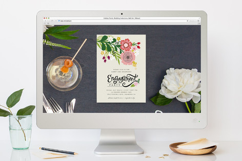 Festive Florals Engagement Party Online Invitations