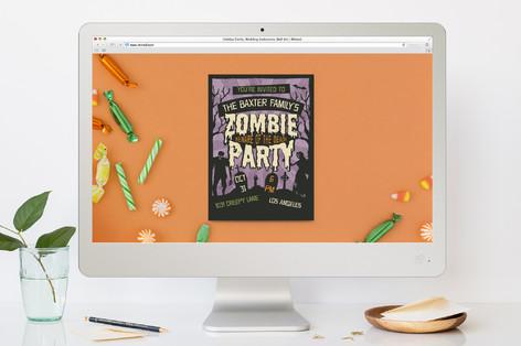 Retro Zombie Halloween Online Invitations