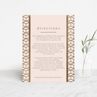 Geometric Pattern Foil-Pressed Direction Cards