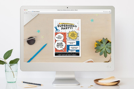 Back To School Superhero Party Back-To-School Party Online Invitations