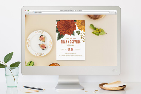 Autumn Blooms Thanksgiving Online Invitations