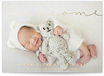 Delicate Welcome Foil-Pressed Birth Announcement Postcards