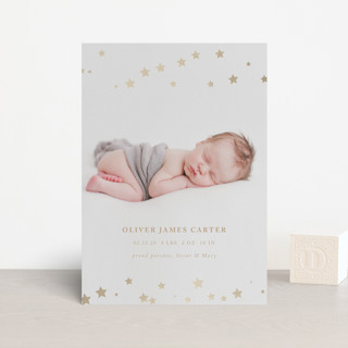 Twinkle Twinkle Foil-Pressed Birth Announcement Postcards